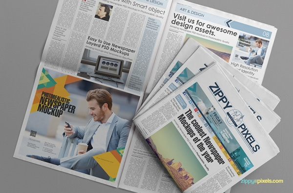 free photorealistic newspaper ad mockup