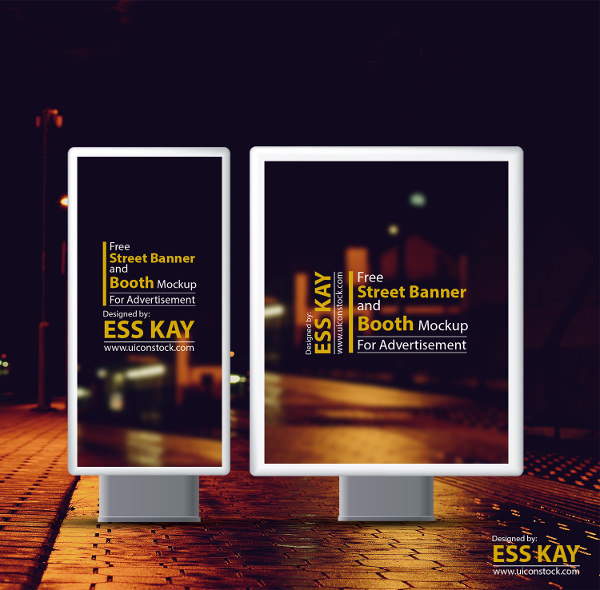 free street banner and booth mockup for advertisement2