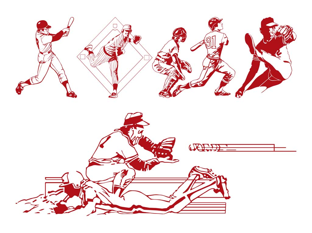 Baseball-Players-Vector