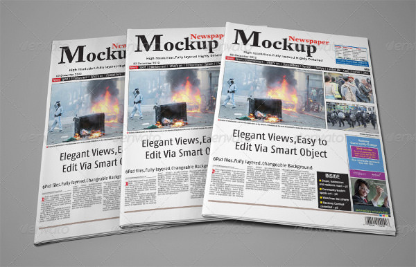 fully layered newspaper mockup