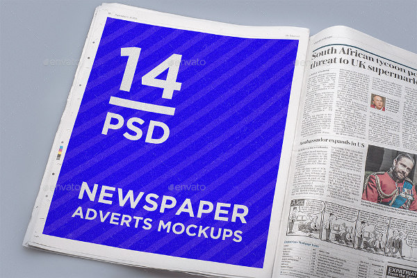 newspaper adverts mockups with customizable layers