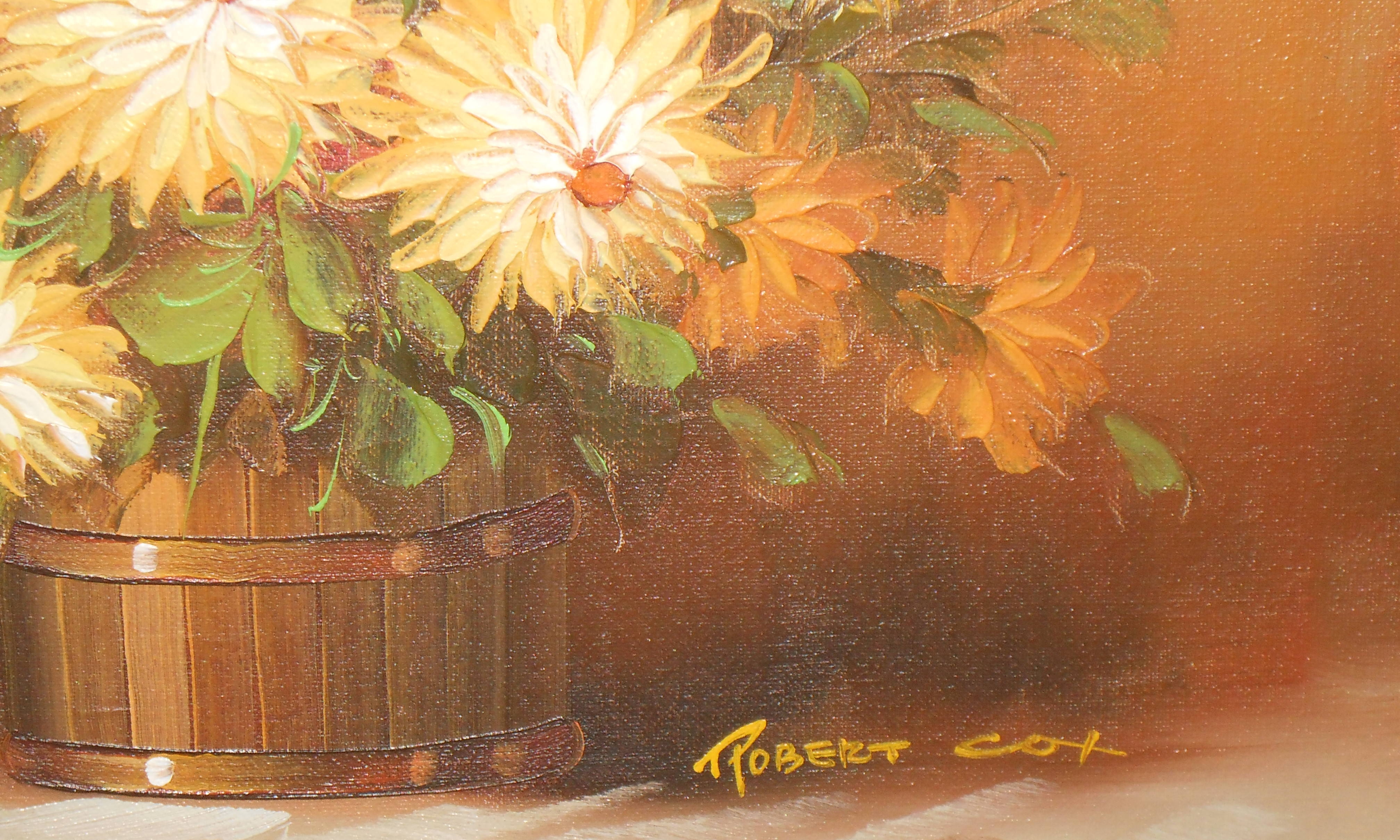 vintage robert cox oil painting of yellow and orange flowers in a wooden planter 1934 2001 c