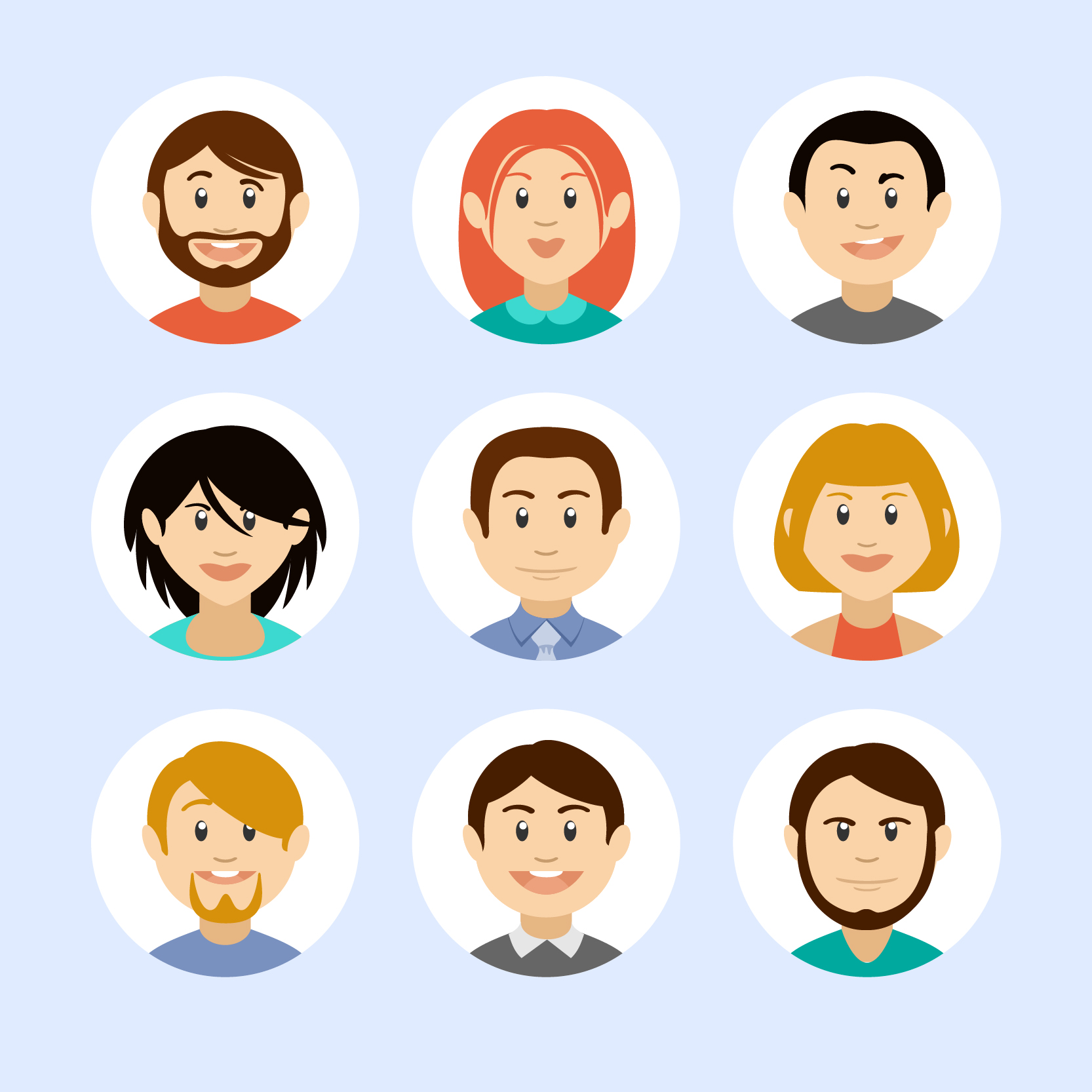 30+ Free Download Vector PSD People Avatars Set