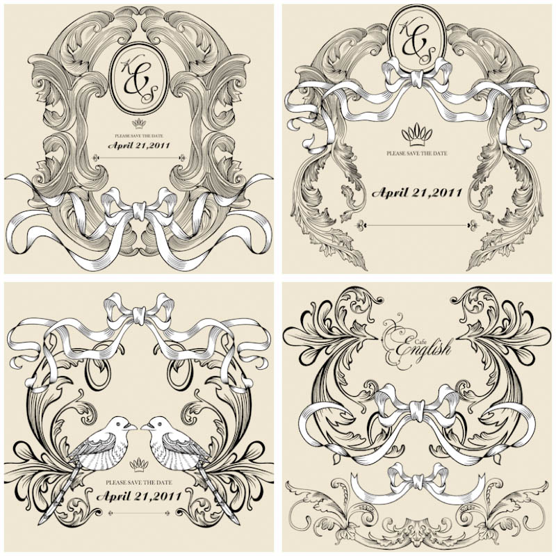 classic-decorative-wedding-frames-vector