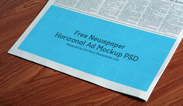 horizontal newspaper mockup