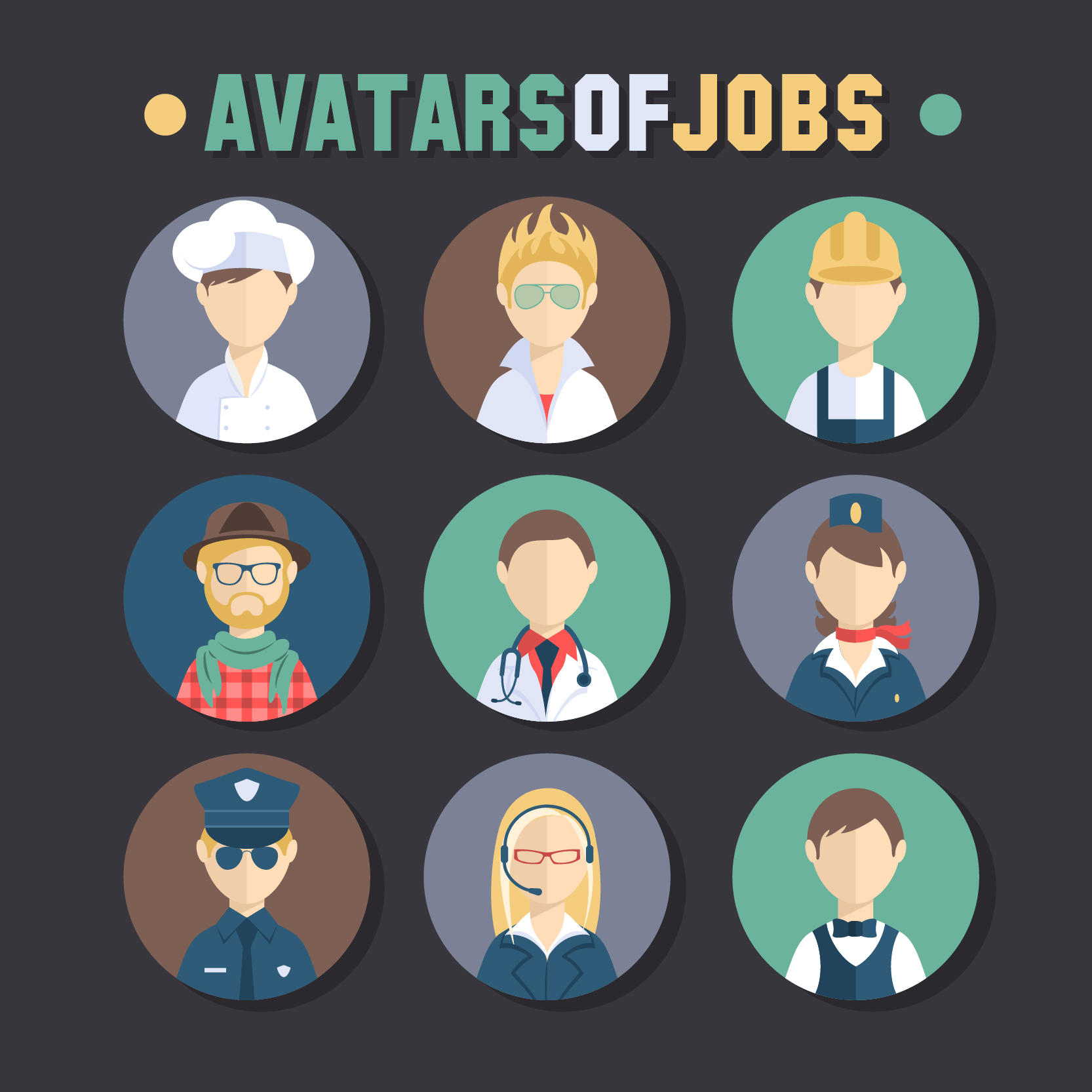 Character Design Careers : Free download vector psd people avatars set
