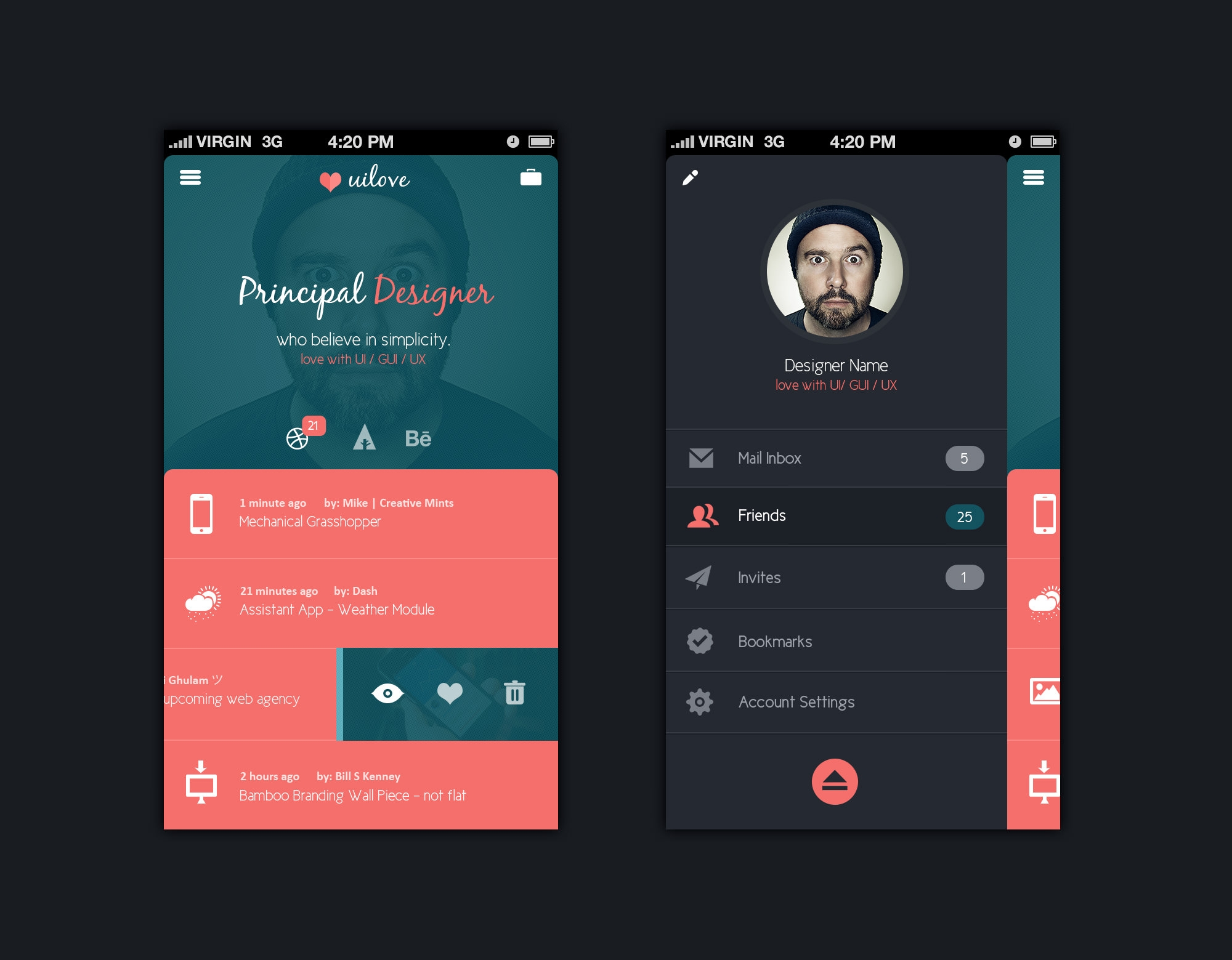 Dating app design templates