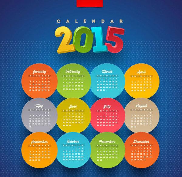 vector-round-stickers-calendars-vector