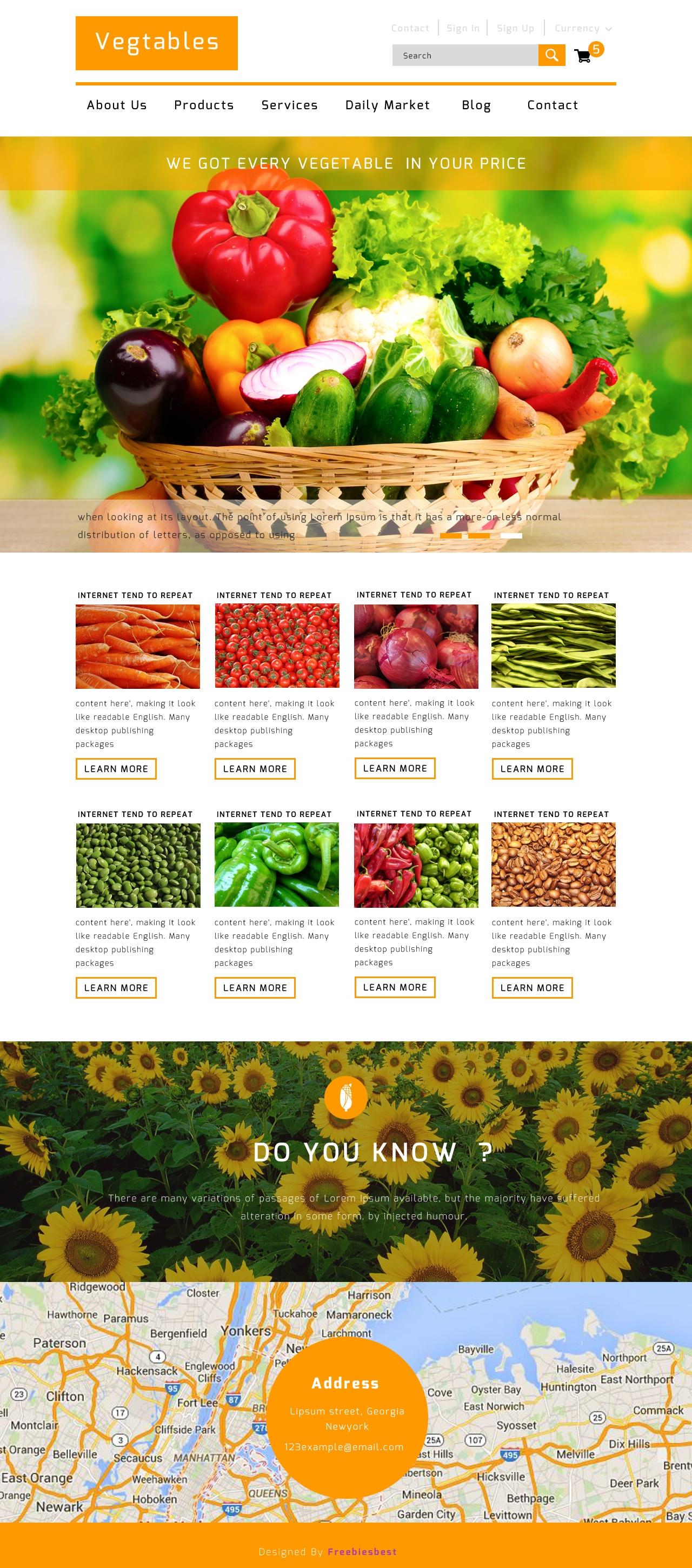 vegetables free flat ecommerce