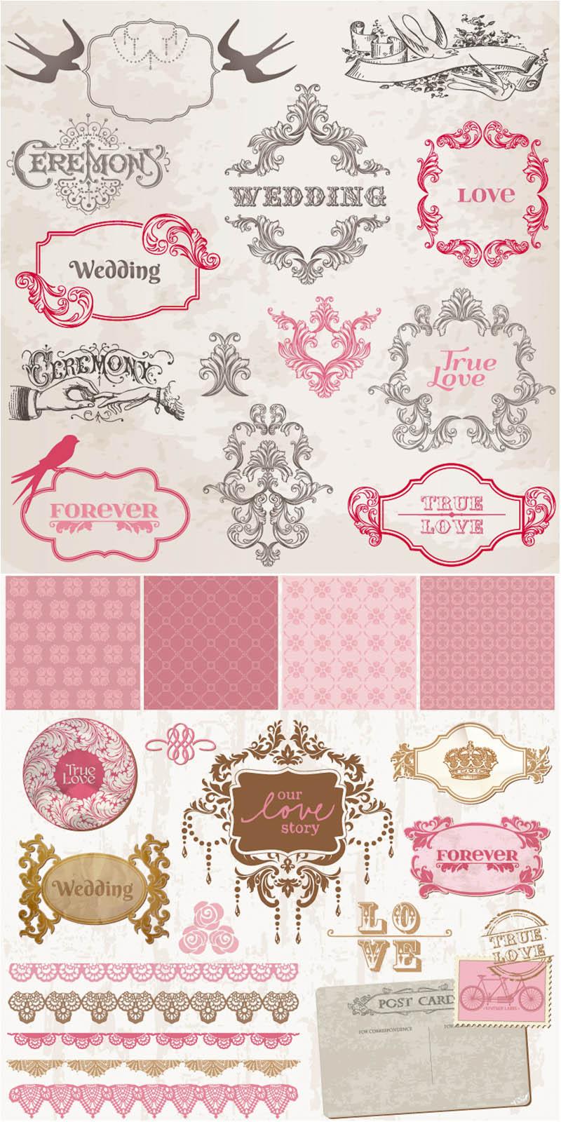 vintage-decorative-wedding-frames-vector