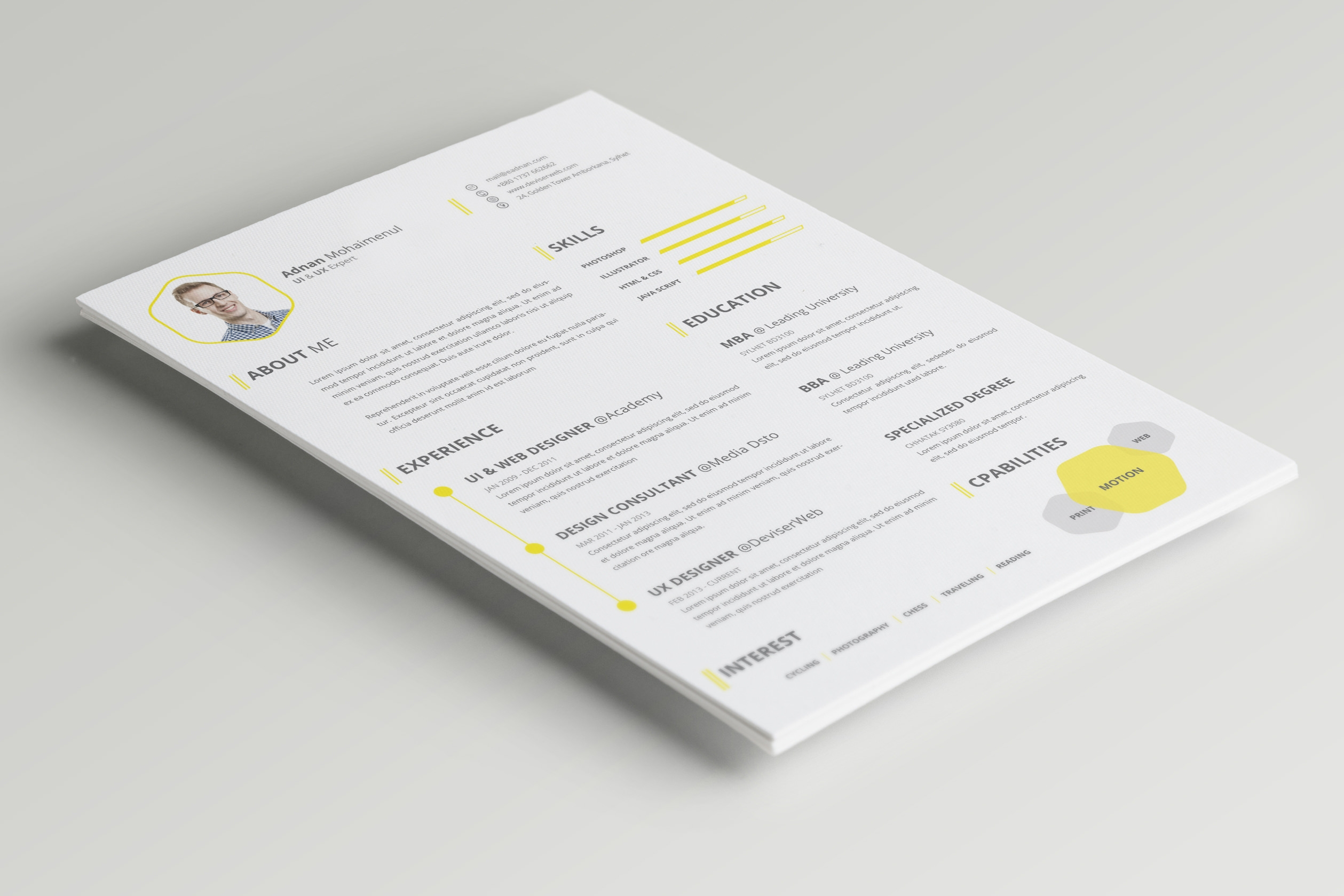 Free 7 Resume Template Designs In Psd Ms Word