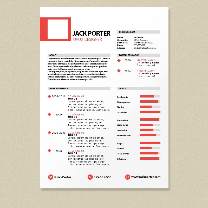 28 Free Cv Resume Templates Html Psd Indesign: 40+ Resume Template Designs