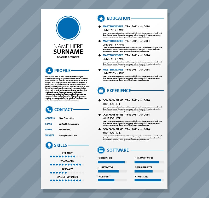 High Quality Editable CV Format Psd Resume Template Design