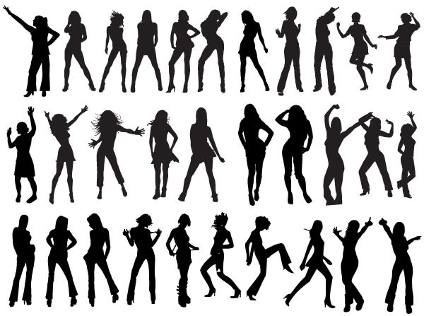 Party Silhouette Vector Free Silhouettes-free-vector-l