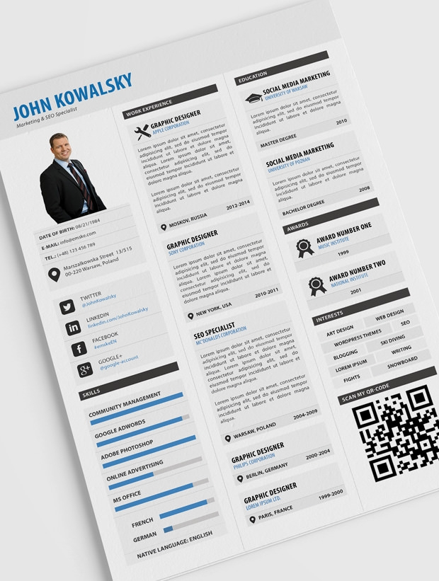 free psd professional resume template design
