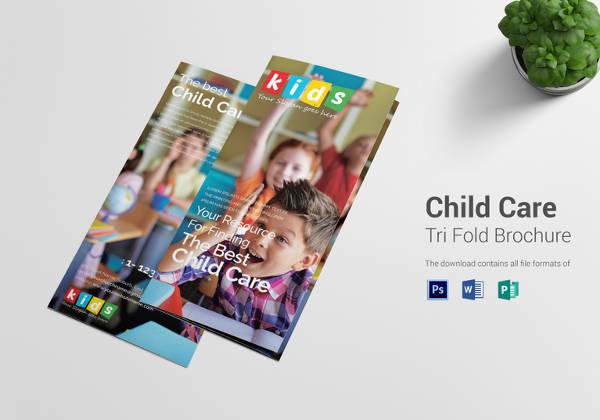 Editable Child Care Tri Fold Brochure