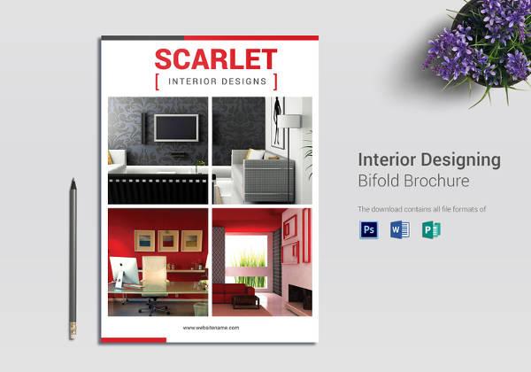 Editable Interior Designing Bi Fold Brochure