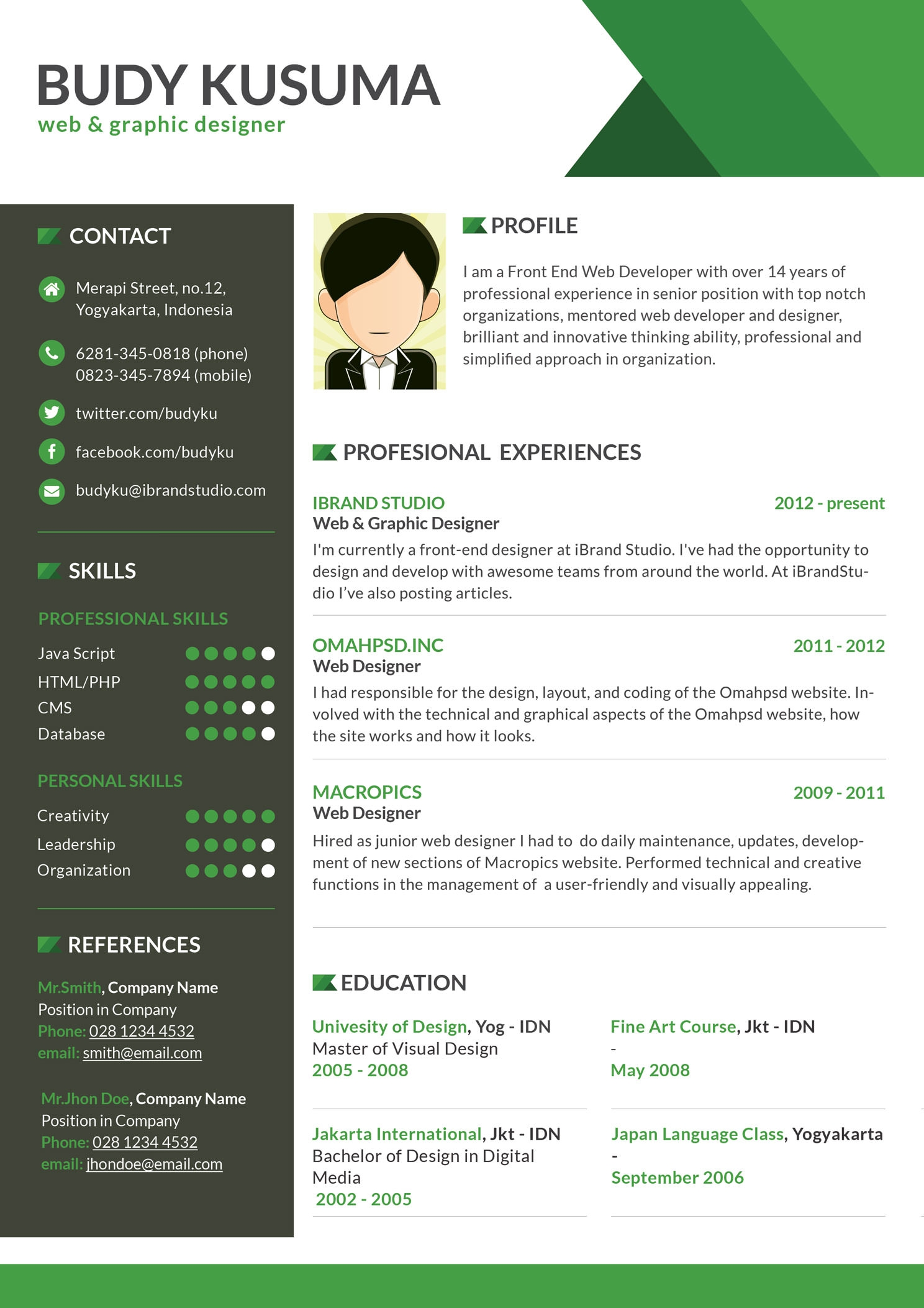 resume Free Creative Resume Templates 40 resume template designs freecreatives flasher green