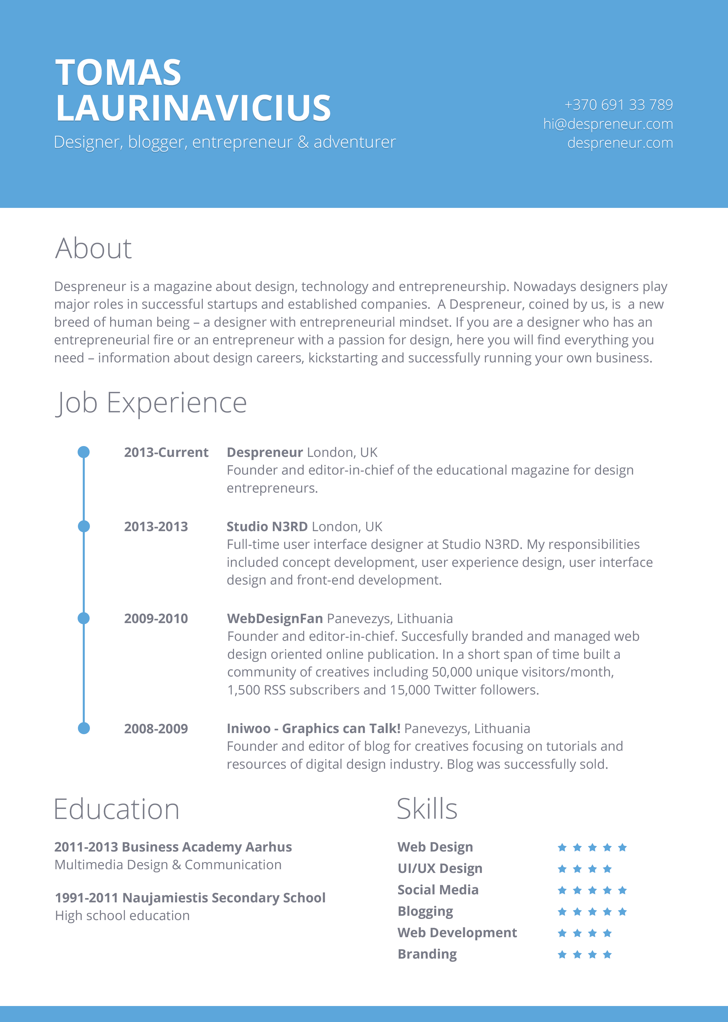 40  Resume Template Designs  FreeCreatives