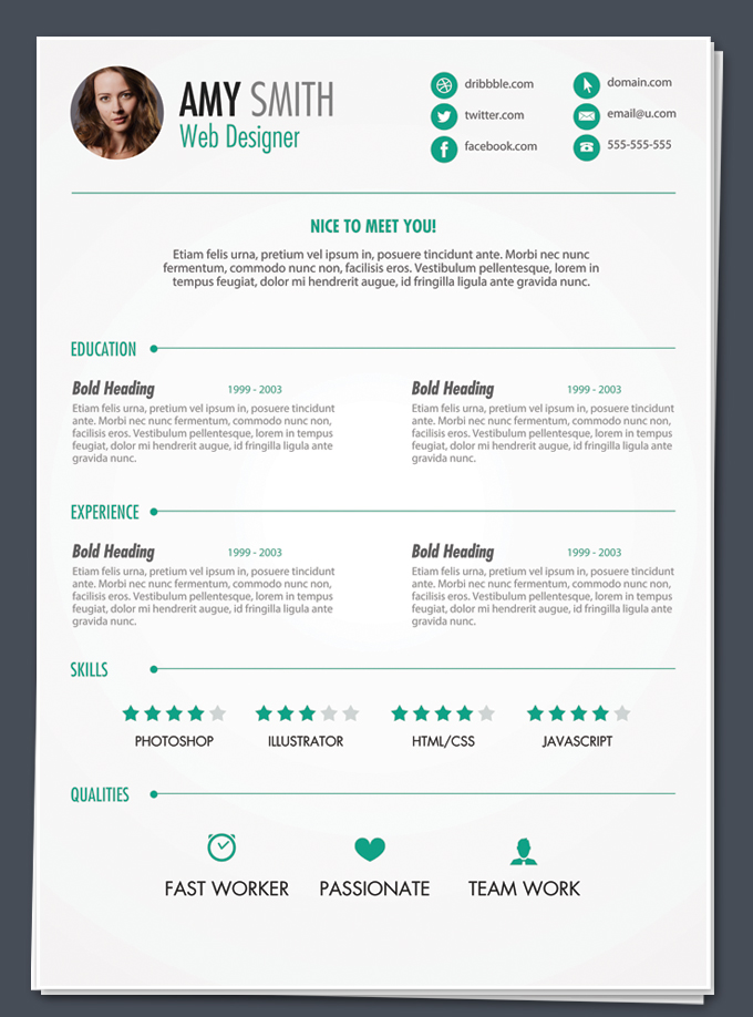 Professional Resume Template Design. Free Resume PSD1