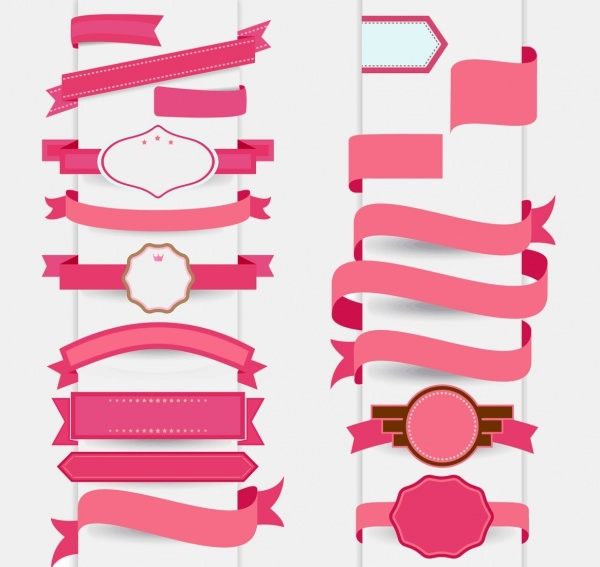 Free Vector Pink Decorative Ribbon Designs