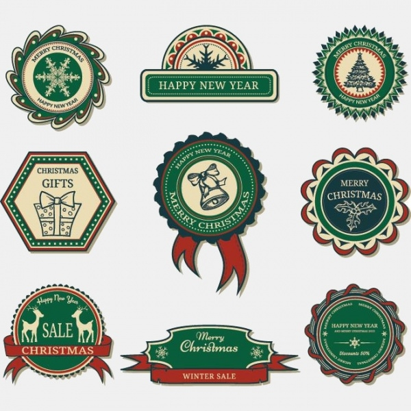 Free Vector Retro Style Merry Christmas Stamp Designs