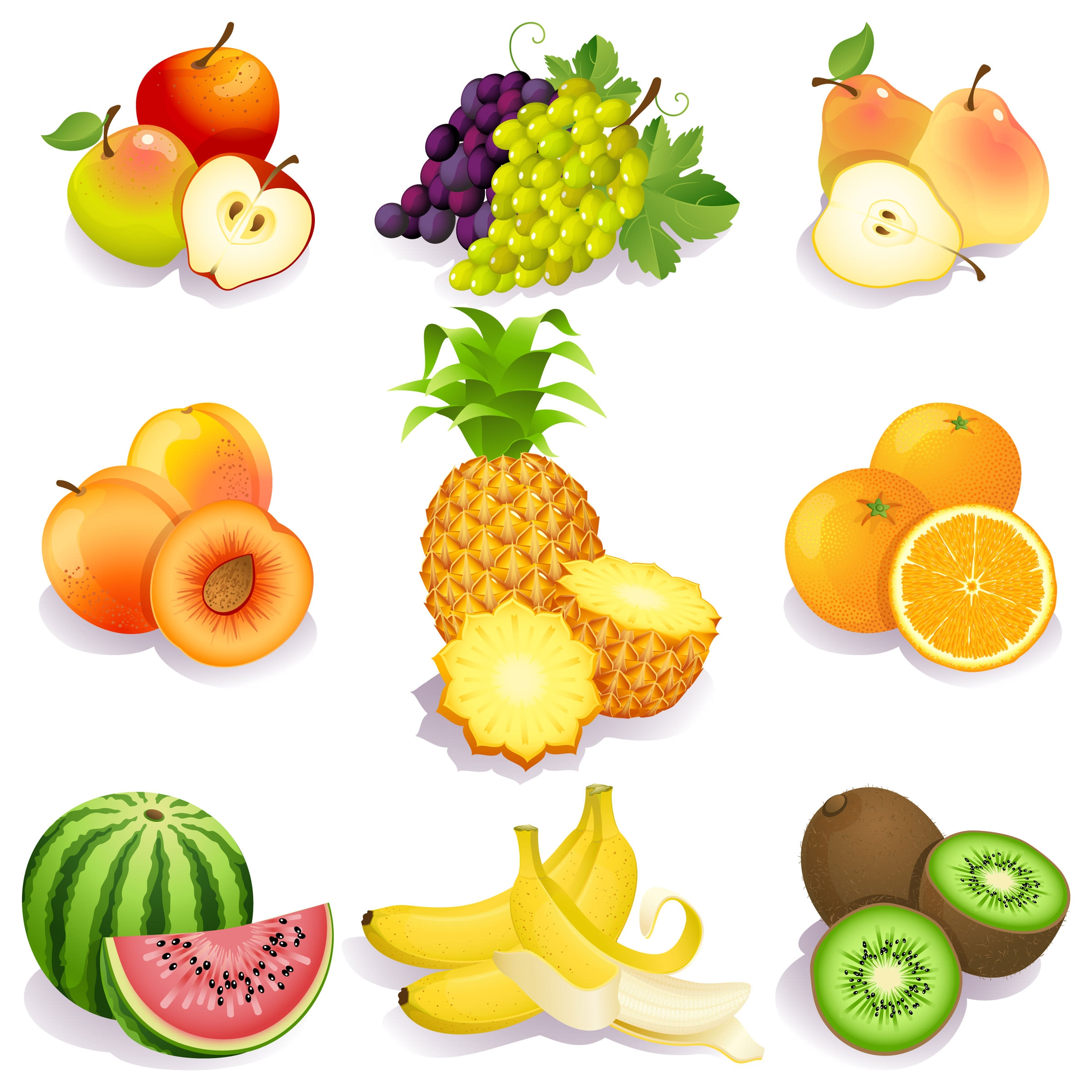 fresh fruits vector icons