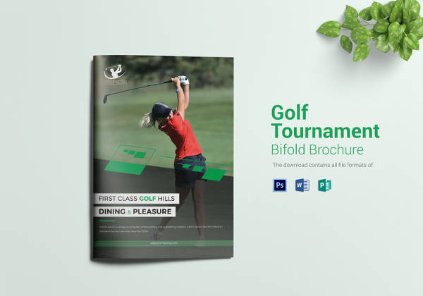 Golf Tournament Bi Fold Brochure Template in PSD Format
