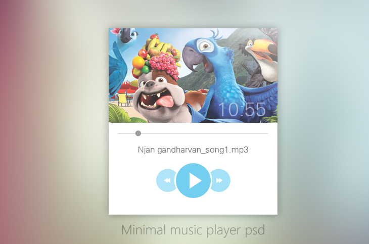 minimal music player ui design psd for free download cssauthor