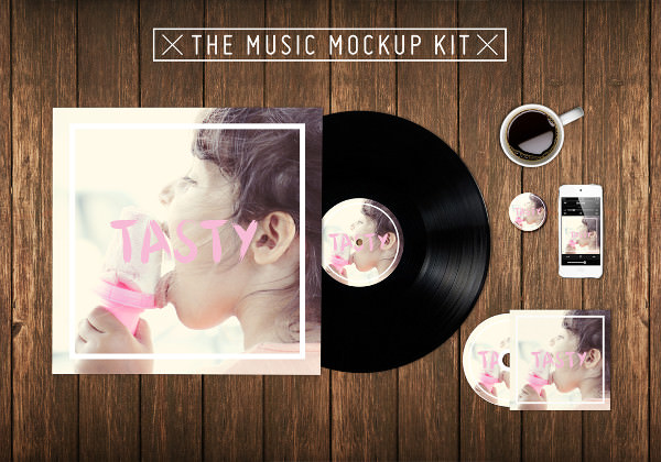 Photorealistic Music Kit Mockup PSD