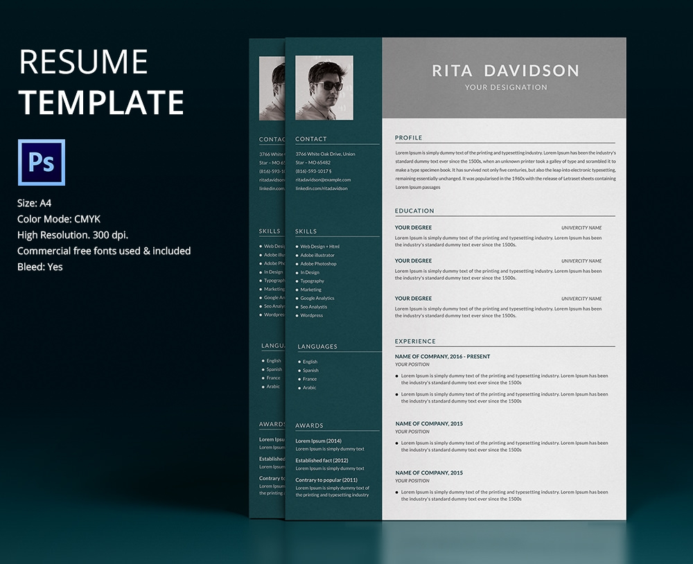 free psd resume design download button