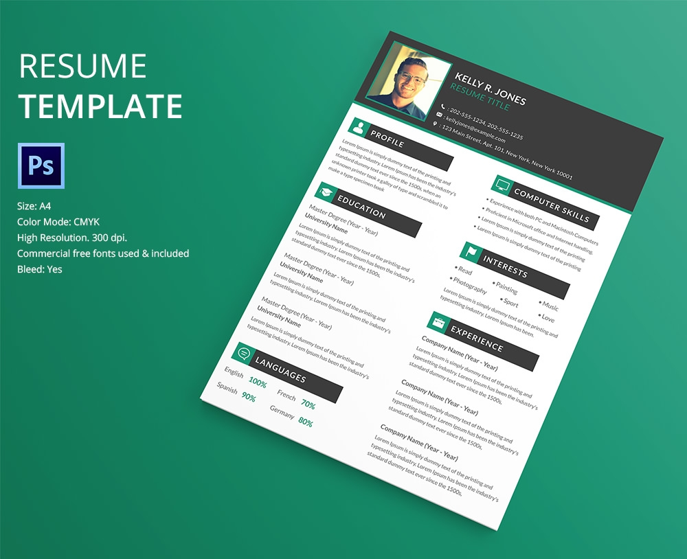 eye catching resume design template download button