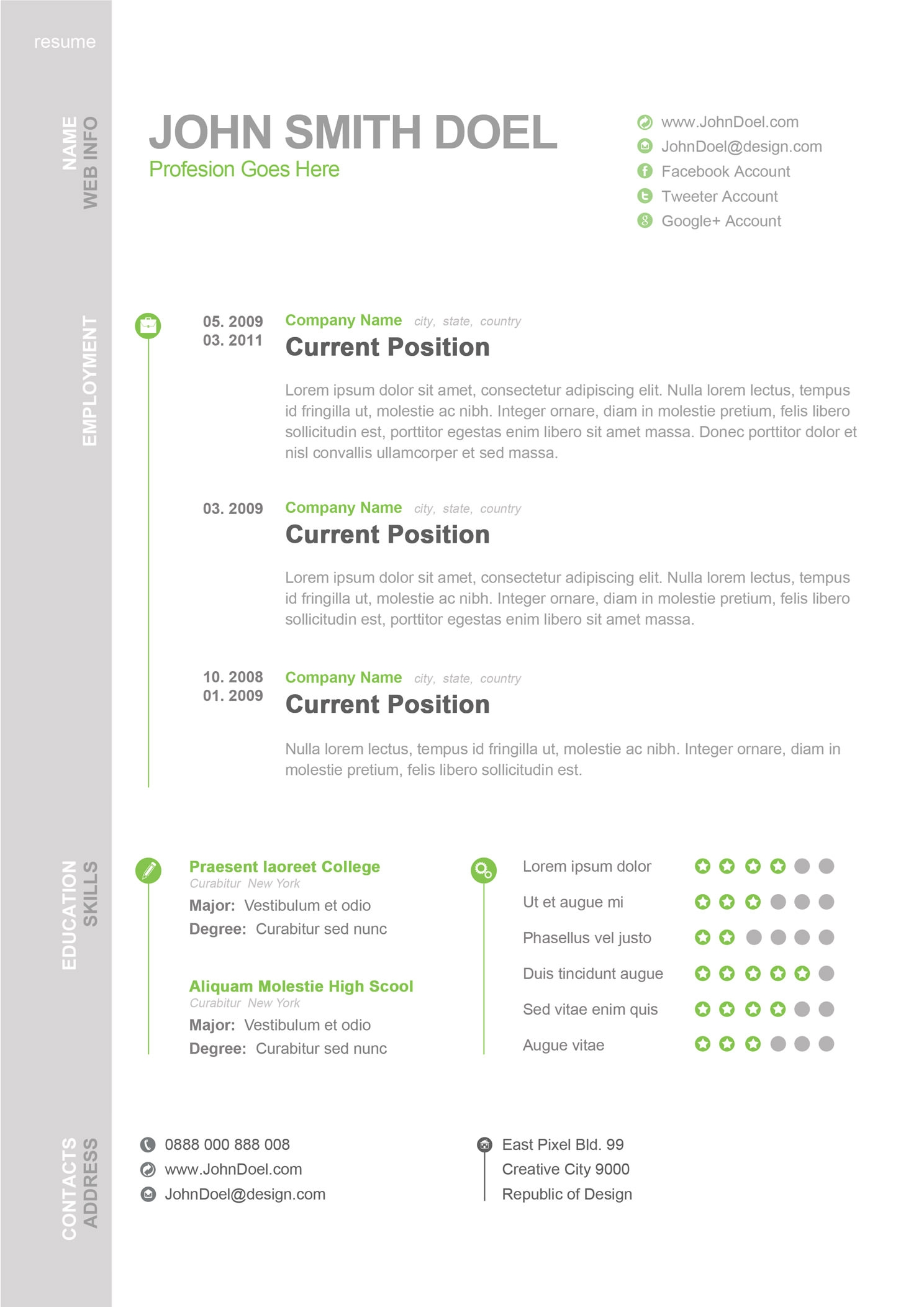 Best CV Resume Template Design Psd