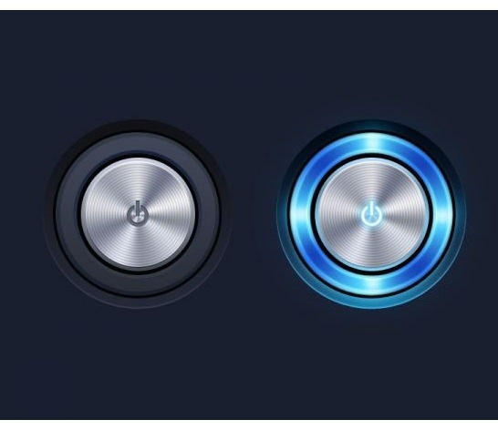Rounded Metallic Switch Button PSD