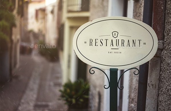 Shop Signs Realistic Mock Up