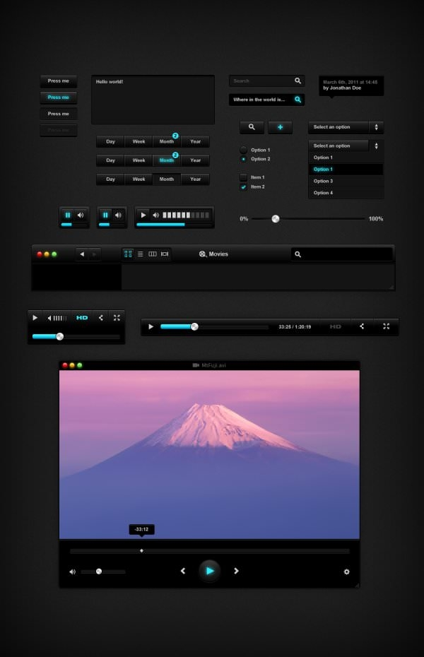 the black theme video player psd layered material 47602