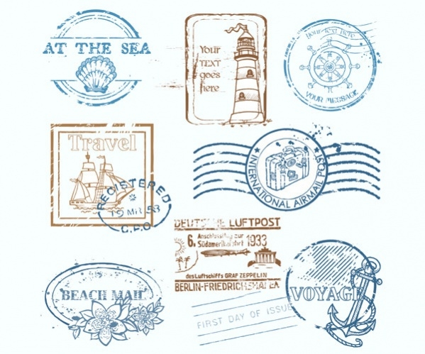Various Travel Stamp Vector Designs