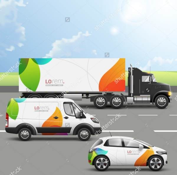 White creative transport advertising design