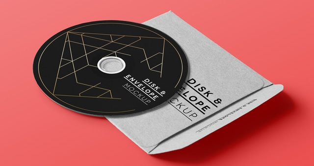 Psd CD Disk with Cover Envelope Mock Up