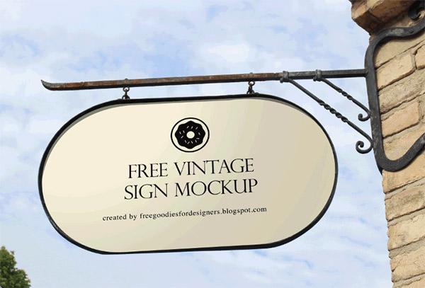 free psd-vintage-sign-mockup