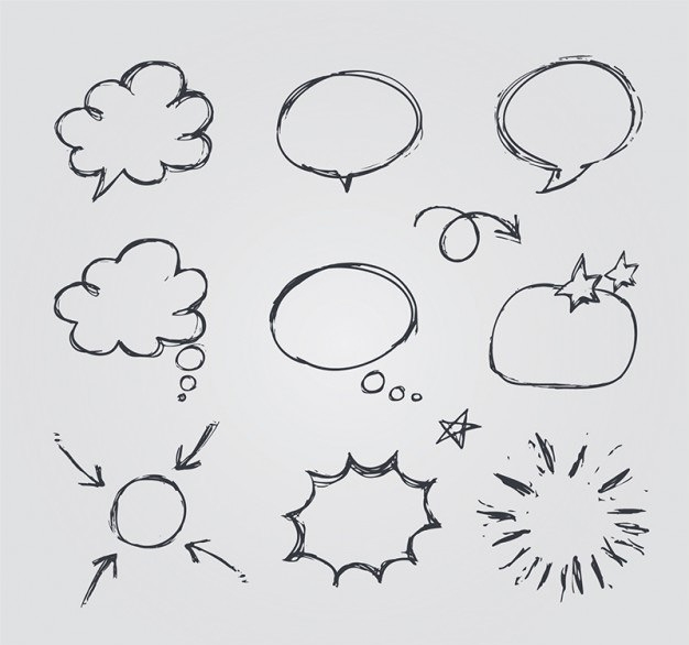 sketchy speech bubbles