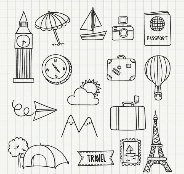 travel icon doodles
