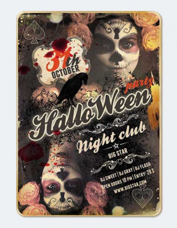 Free PSD Vintage Halloween Party Flyer Design