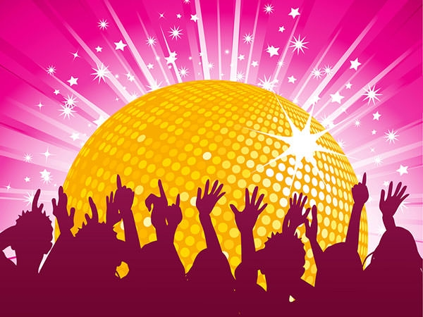 Orange-disco-ball-and-crowd-backgrounds