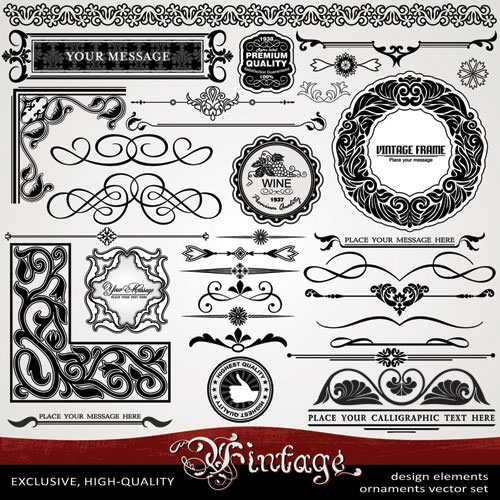 Ornament-vintage-borders-elements-vector-set-01