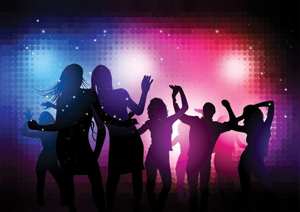 Disco Party Vector People Background