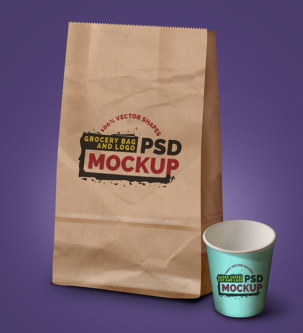 grocery coffee bag mockup