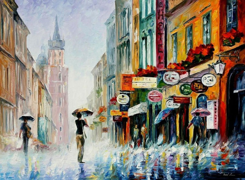 raining oil painting