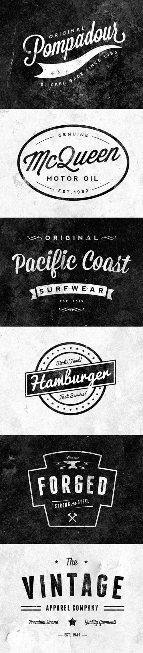 psd retro logo designs