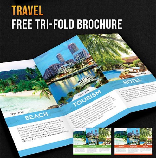 Free psd travel brochure design templates freecreatives for Tri fold brochure psd template